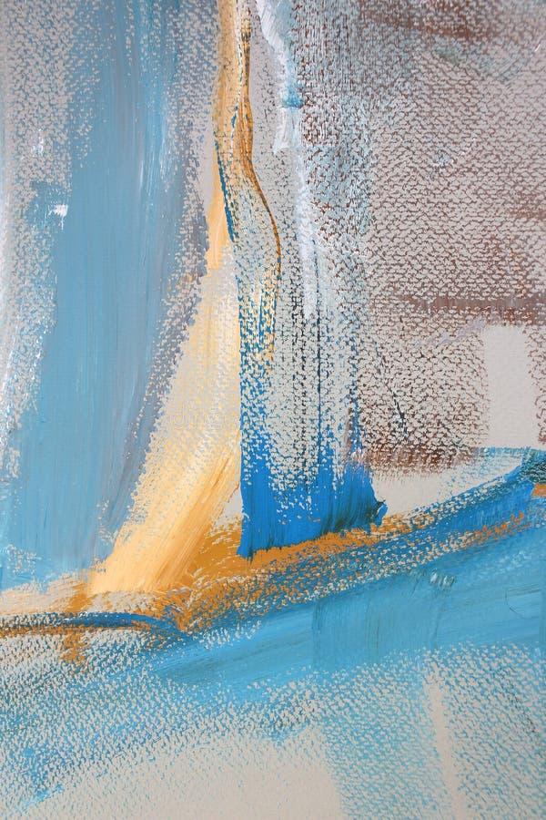 Blåa gula färger på kanfas abstrakt konstbakgrund Färgtextur Fragment av konstverk abstrakt kanfasmålning royaltyfria bilder
