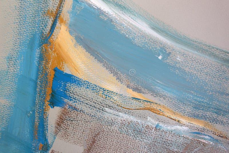 Blåa gula färgslaglängder på kanfas abstrakt konstbakgrund Färgtextur Fragment av konstverk abstrakt kanfasmålning stock illustrationer