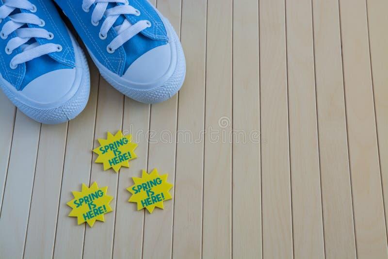Blåa gymnastikskor med våren undertecknar på träbakgrunden royaltyfri foto
