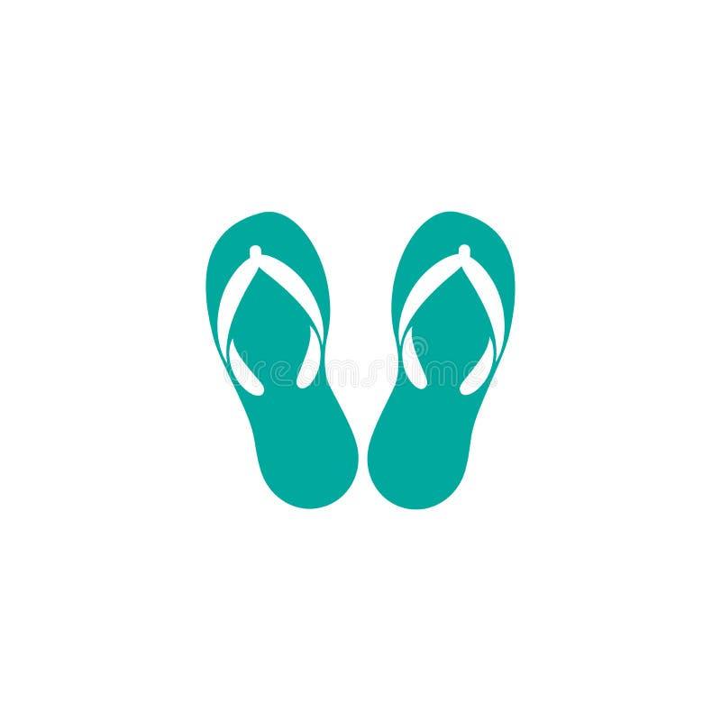 blåa häftklammermatare Par av flipmisslyckanden, attribut för semester för sommartid, skor royaltyfri illustrationer