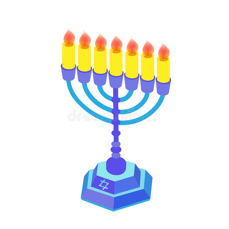 Blåa hanukkah med stearinljus eller menoror Isometrisk plan illustration vektor illustrationer