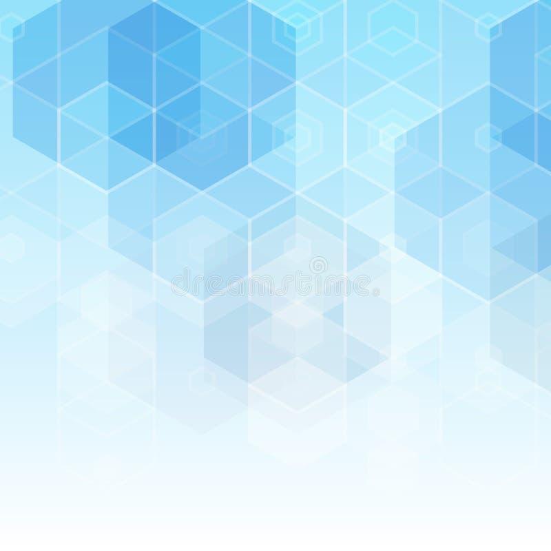 Blåa hexahedrons Annonsering av modellen Design för affären, vetenskap, medicin wallpaper Polygonal stil Abstrakt vektor stock illustrationer