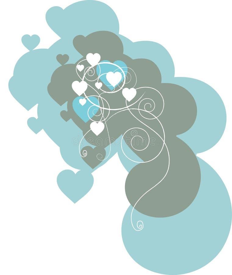blåa hjärtaspiral royaltyfri illustrationer