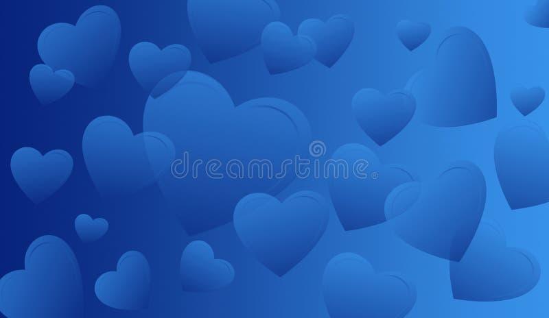 blåa hjärtor vektor illustrationer