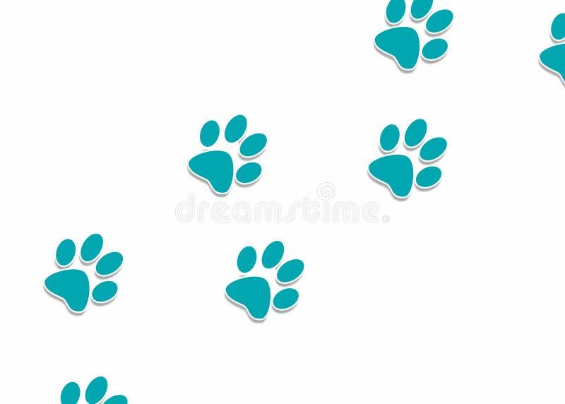 Blåa hundfotspår i den vita bakgrundsillustrationen Hundmoment royaltyfri foto