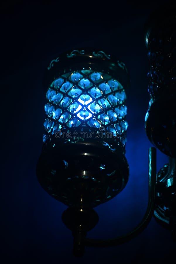 Blåa inre rumljus - materielfotografi royaltyfri bild