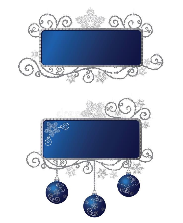 blåa isolerad silver för jul ramar stock illustrationer