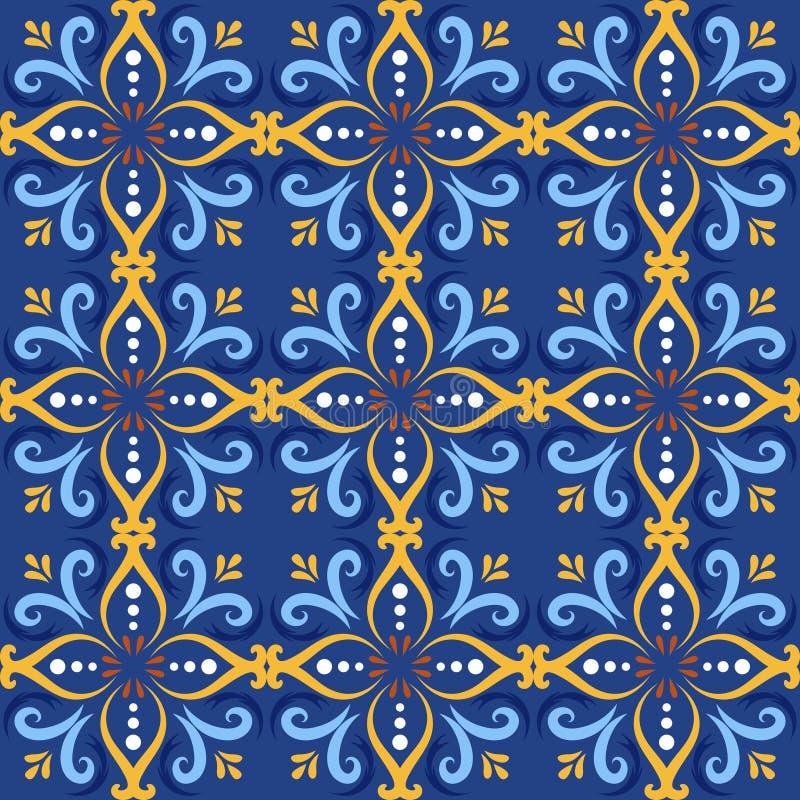 Blåa italienska sömlösa modellbakgrunder för keramisk tegelplatta Traditionella utsmyckade azulejos för talavera dekorativa färgt vektor illustrationer