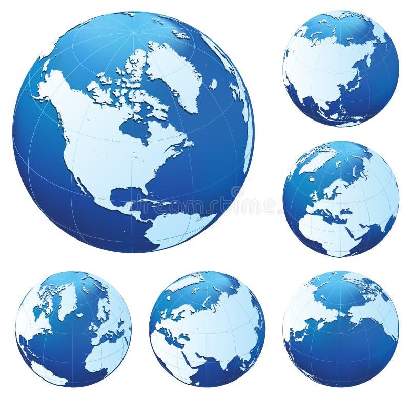 blåa jordklot sex stock illustrationer