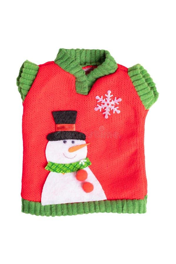 blåa julgarneringar Leksaksweater med snögubben som isoleras på en vit bakgrund royaltyfria bilder