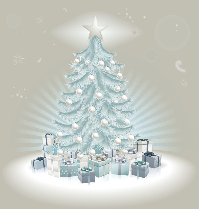 Blåa julgran, bollar och gåvor för silver royaltyfri illustrationer