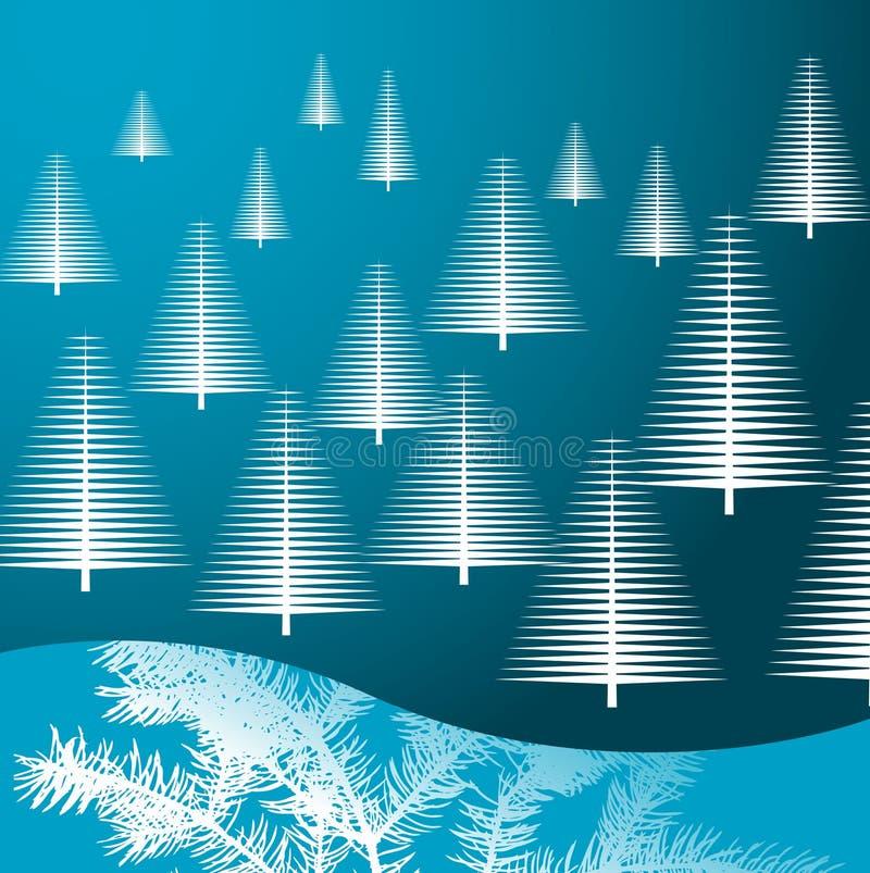 blåa jultrees royaltyfri illustrationer