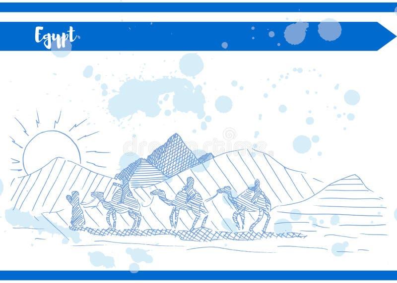 Blåa kamel för ökensolpyramid skissar vykortet vektor illustrationer