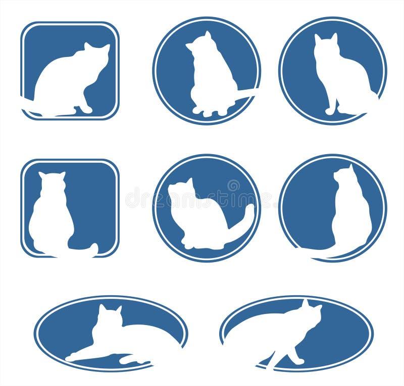 blåa kattramar vektor illustrationer
