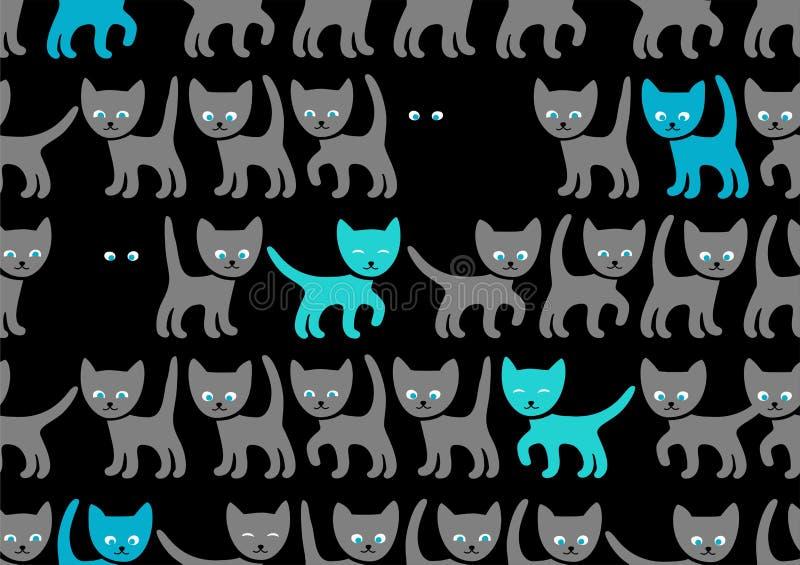 Blåa kattungar på svart bakgrund, sömlös modell, vektor vektor illustrationer