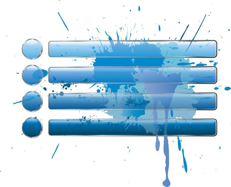 blåa knappar plaskar royaltyfri illustrationer