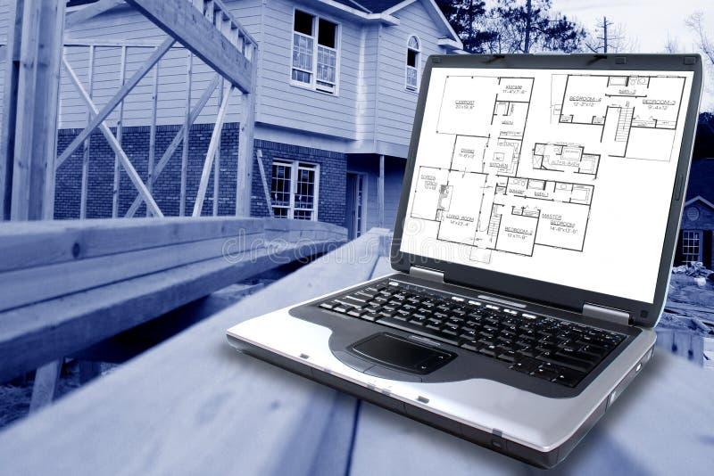 Download Blåa konstruktionstryck arkivfoto. Bild av dator, plan - 514010