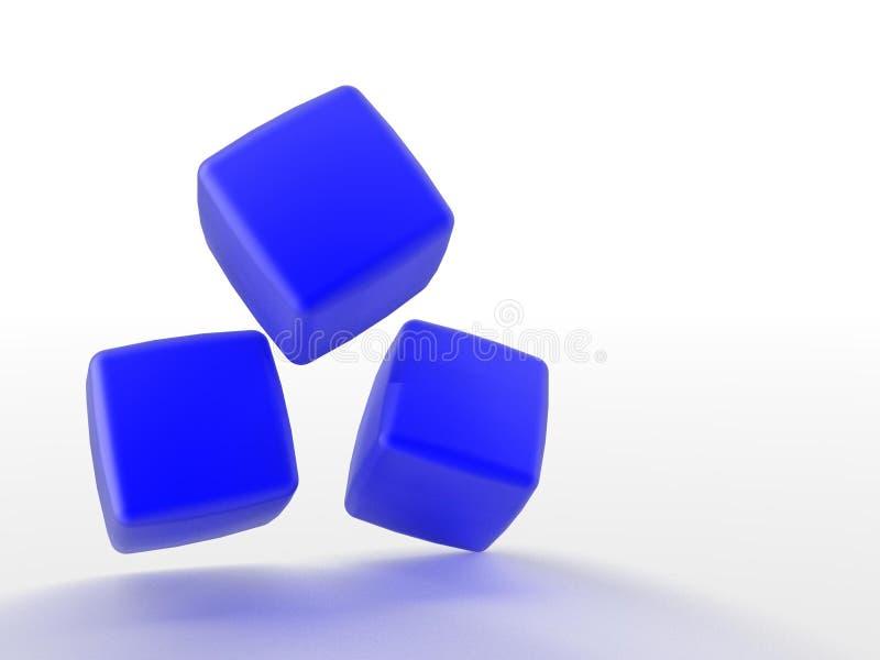 blåa kuber dimensionella tre royaltyfri illustrationer