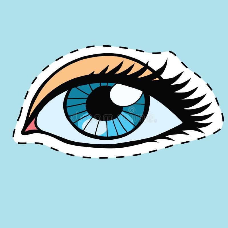 Blåa kvinnligögon flicka eller kvinnaetikettklistermärke royaltyfri illustrationer