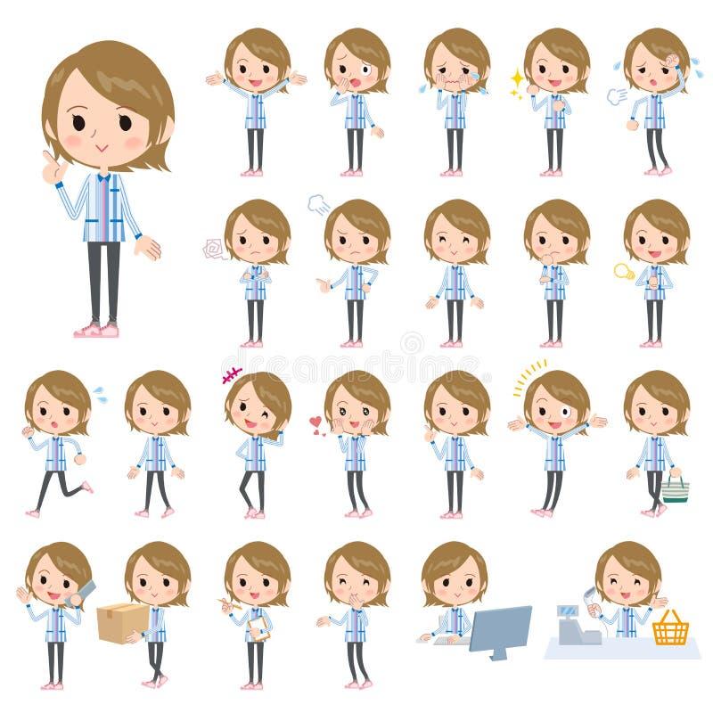 Blåa likformigkvinnor för servicebutik royaltyfri illustrationer