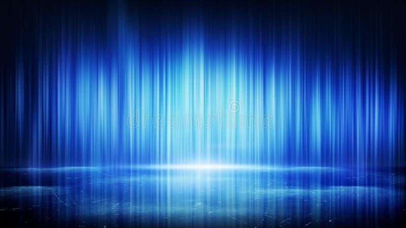 Blåa ljusa linjer och abstrakt bakgrund för reflexion vektor illustrationer