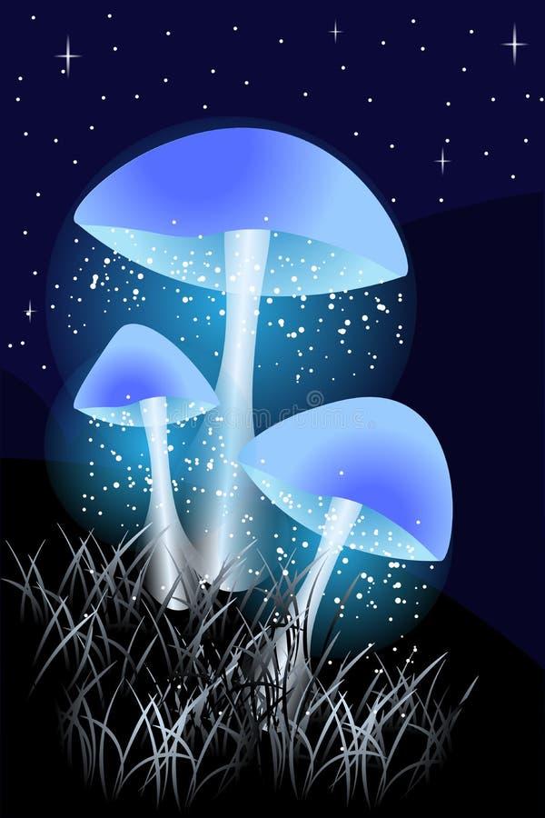 Blåa lysande champinjoner i natten med gräs royaltyfri illustrationer