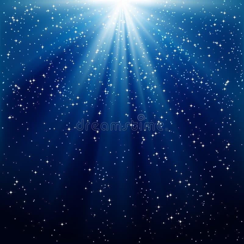 blåa lysande strålar för bakgrund royaltyfri illustrationer