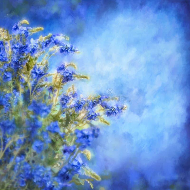 Blåa målningblommor för romantiker royaltyfri illustrationer
