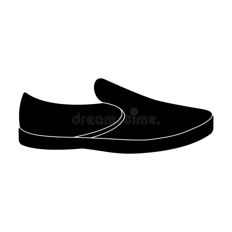 Blåa mansommarespadrilles Bekväma skor för sommar på den kala foten för dagliga kläder Enkel symbol för olika skor in stock illustrationer