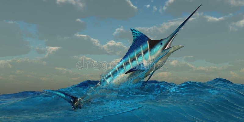 Blåa Marlin Burst vektor illustrationer