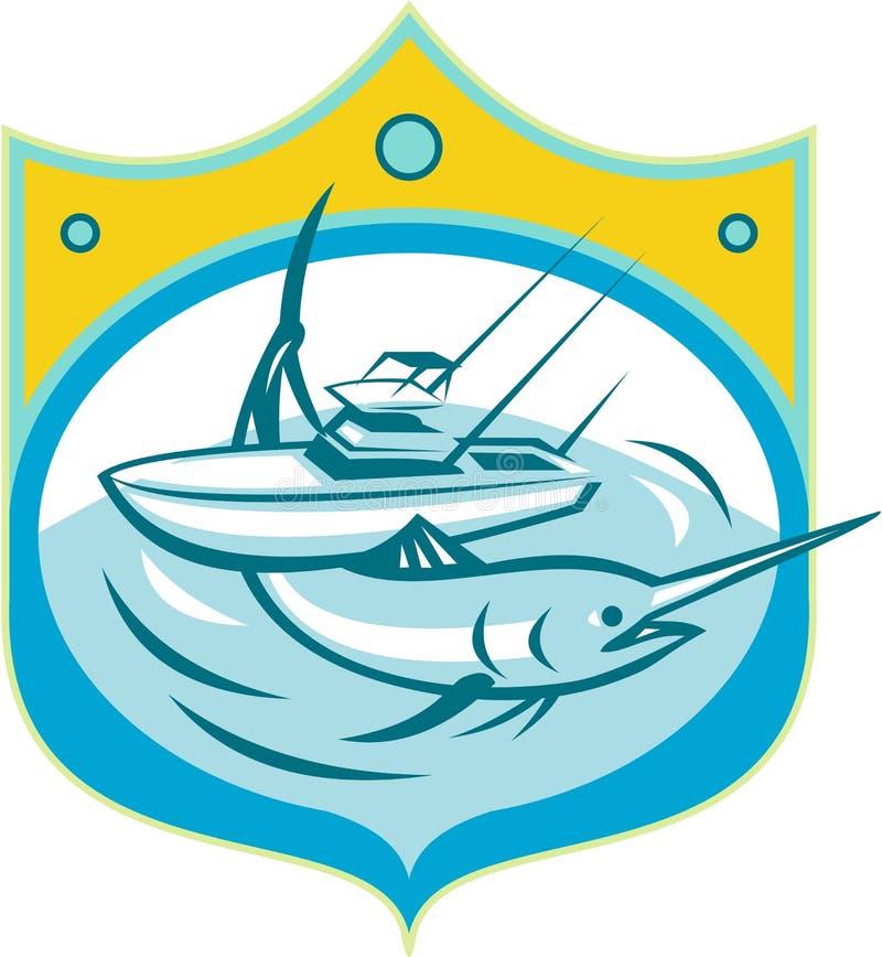 Blåa Marlin Charter Fishing Boat Retro vektor illustrationer