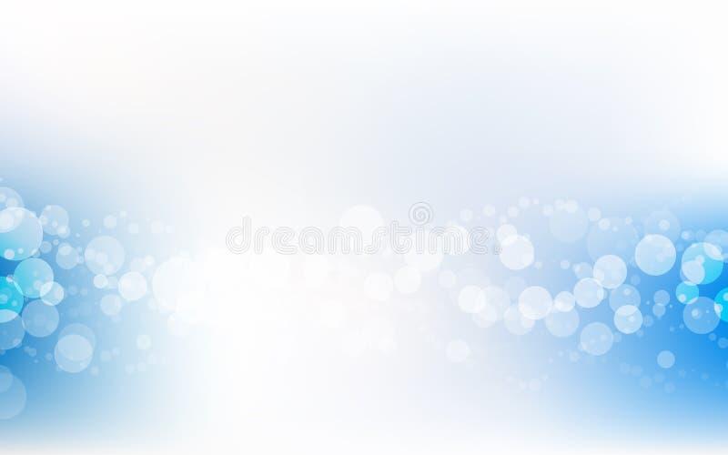 Blåa mjuka pastellfärgade Bokeh Pale White Abstract Background Vector vektor illustrationer