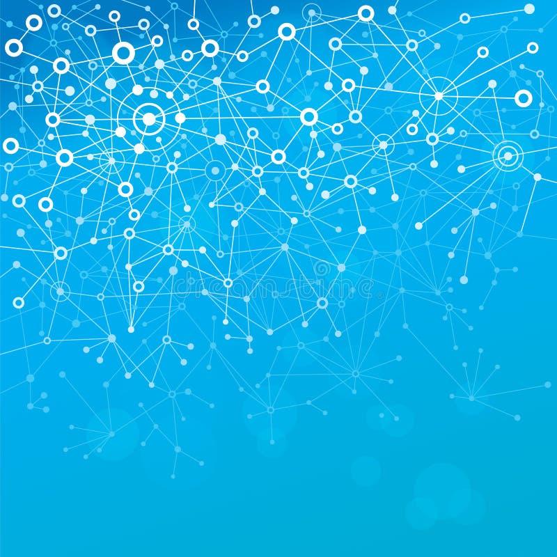 Blåa molekylar royaltyfri illustrationer