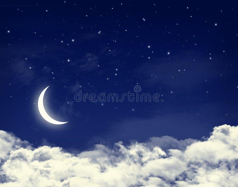 blåa molniga stjärnor för moonnattsky vektor illustrationer