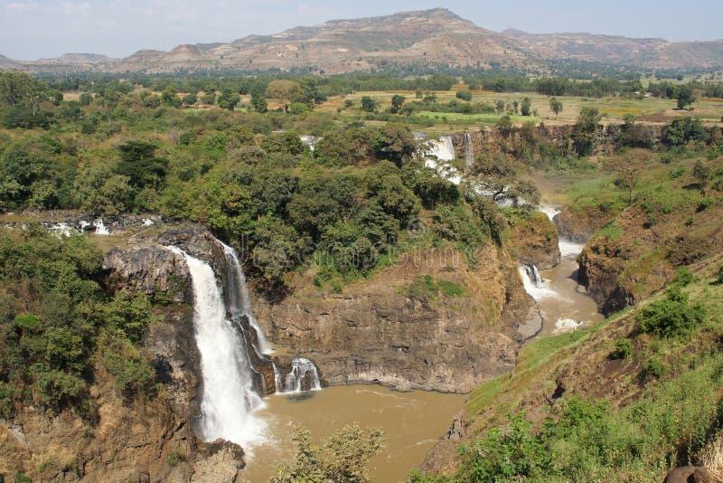 Blåa Nilennedgångar Bahar Dar, Etiopien arkivbild