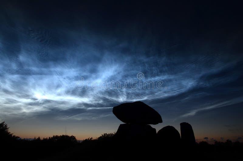 Blåa noctiliucent moln för stål med konturn av en rund kärra royaltyfria foton