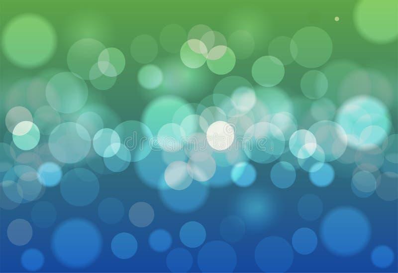 Blåa och gröna bokehcirklar för abstrakt bakgrund Härlig baksida royaltyfria bilder