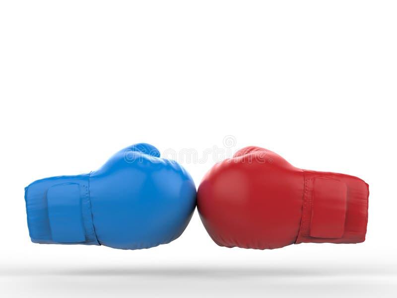 Blåa och röda boxninghandskar royaltyfri foto