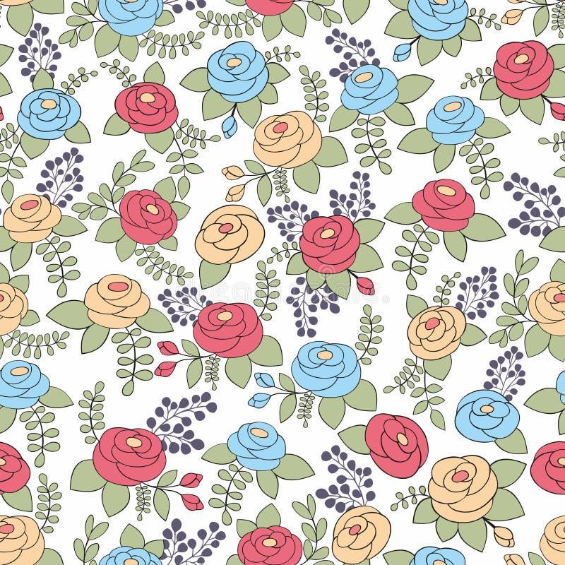 Blåa och röda rosor för guling, seamless modell royaltyfri illustrationer