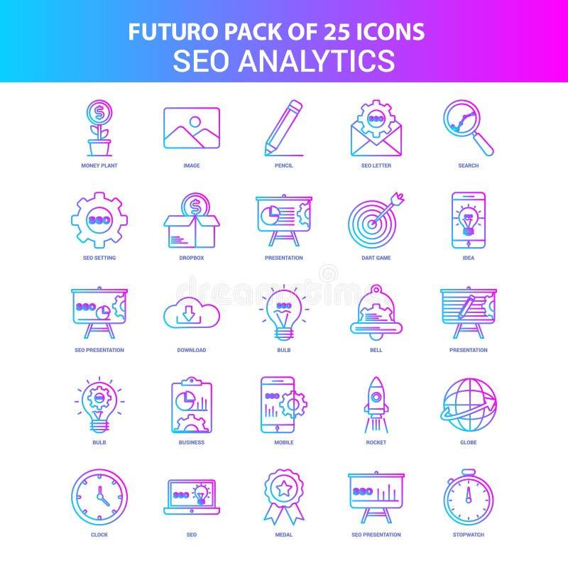 25 blåa och rosa Futuro SEO Analytics Icon Pack royaltyfri illustrationer