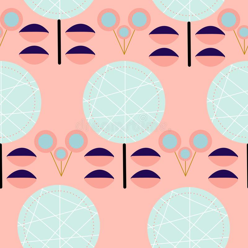 Blåa och rosa retro blommor i en sömlös modelldesign royaltyfri illustrationer