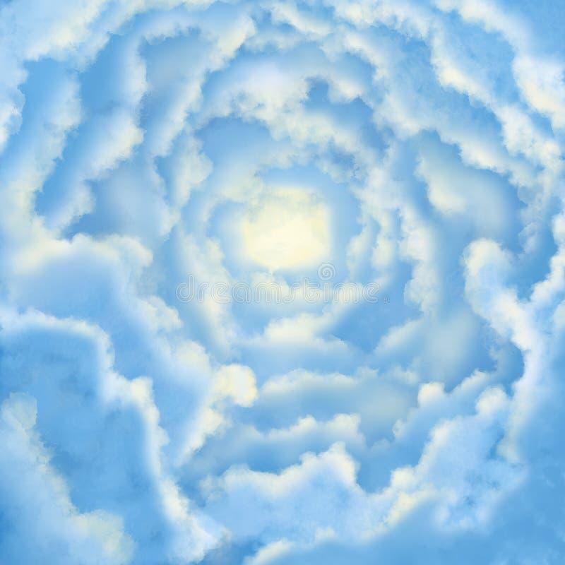 Blåa och vita moln med mjukt ljus Fridsamt begrepp royaltyfri foto