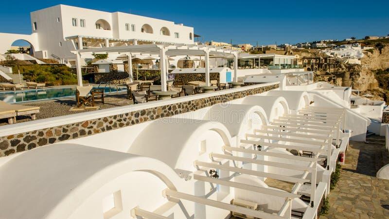 Blåa och vita Santorini fotografering för bildbyråer