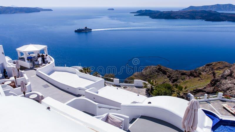 Blåa och vita Santorini royaltyfri bild
