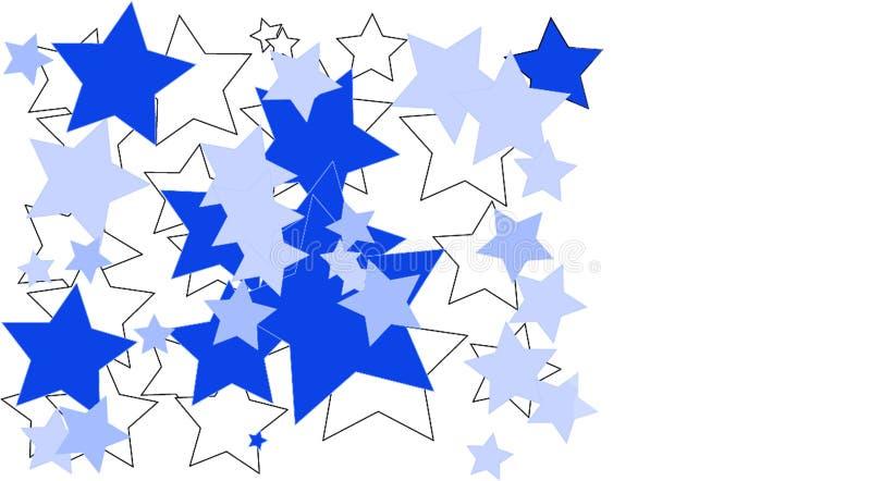Blåa och vita stjärnor som göras på en vit bakgrund arkivbild