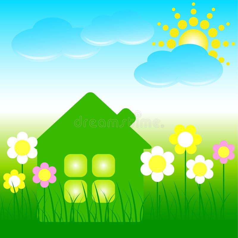 blåa oklarhetsblommor house sunen royaltyfri bild