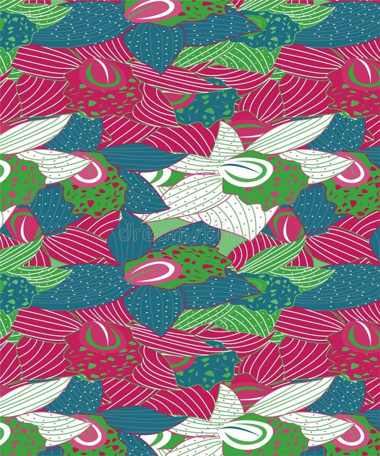 Blåa orkidér & grön blom- design med polkan Dots On dem vektor illustrationer