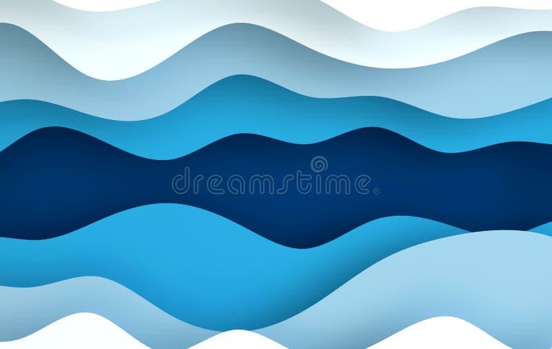Blåa pappers- abstrakta vågor för konsttecknad film, hål Papper snider bakgrund Modern origamidesignmall 3d som fäster den lätta  royaltyfri illustrationer
