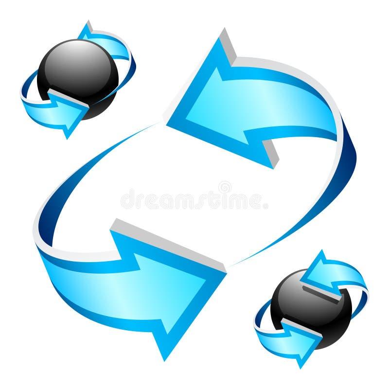 blåa pilar vektor illustrationer
