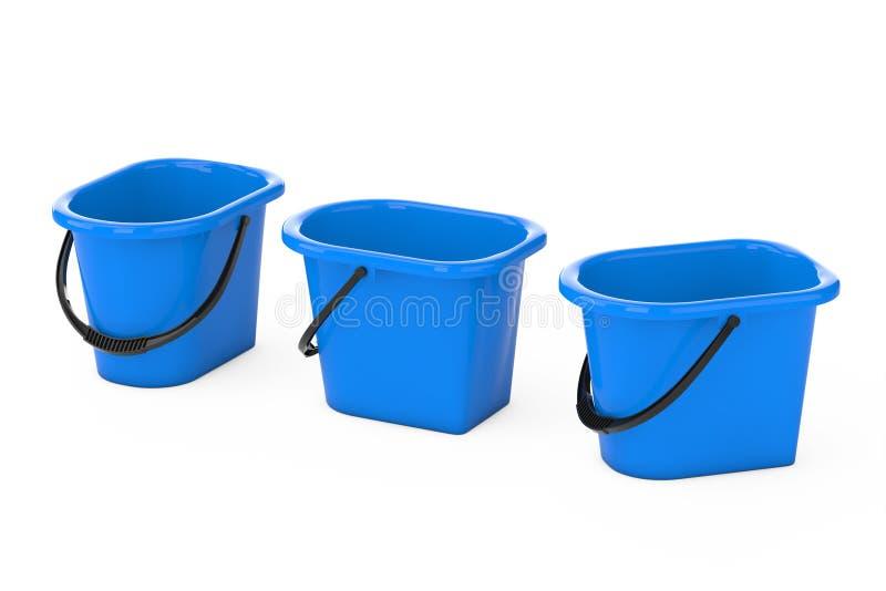 Blåa plastic hinkar framförande 3d vektor illustrationer